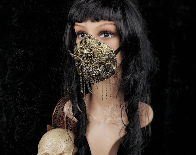 Art Nouveau Jaw mask, mouth mask, mouth patch, gothic mask, gothic headpiece, blind mask, medusa costume, baroque mask / Made to order