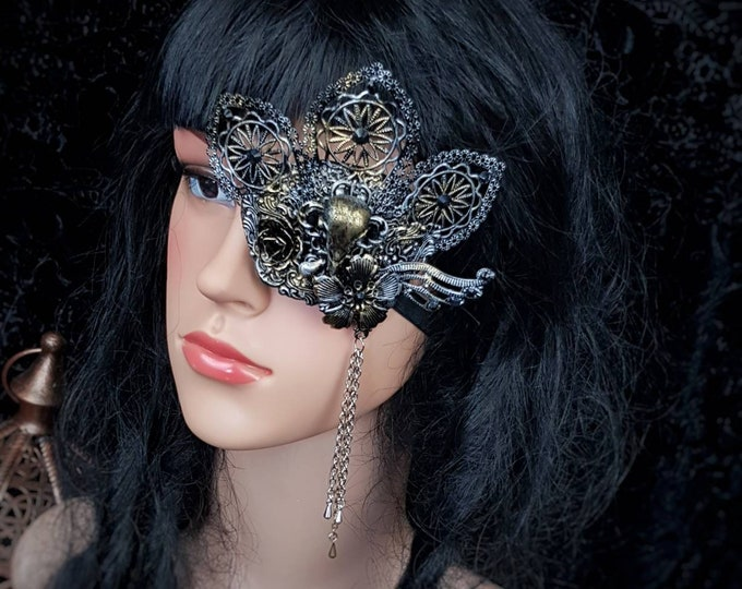 Raven Eye Patch, totally blind, gothic headpiece, goth mask, Augenklappe, gothic crown, medusa costume,  blind mask/ Made to Order