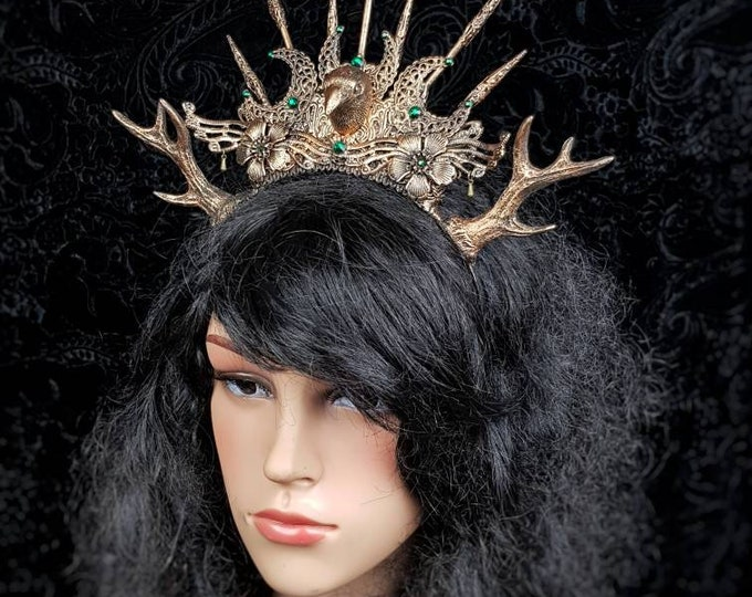 Morrigan Crown, Cernunnos, Antlers, goth headpiece, Gothic crown, Pagan crown, goth crown, medusa, fantasy, cosplay, Raven /  MADE TO ORDER