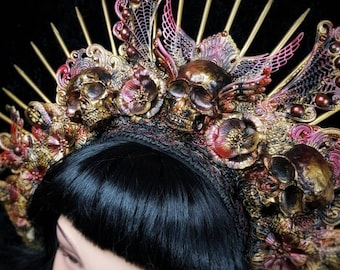"The Phoenix Halo headpiece in different colors with resin skulls, large headdress ""The Phoenix"" headdress"