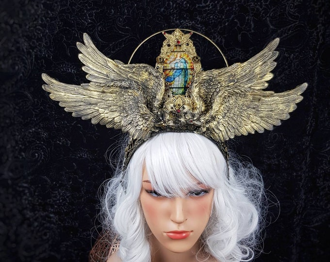 """Stained glass Halo II. """" Cathedral wings""""  headpiece, blind mask, Heiligenschein, Gothic Crown, gothic headpiece, goth crown/ Made to order"""