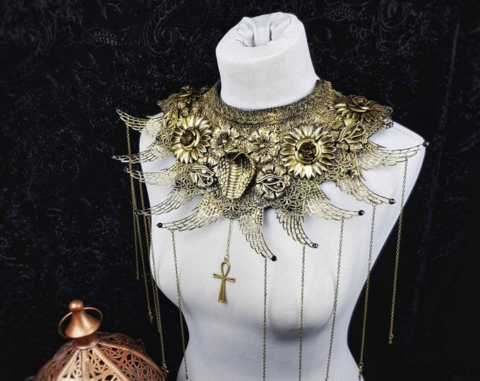 "Chest armor, fantasy collar "" Cobra Queen "", cleopatra collar, medusa costume, ankh, Horus, gothic headpiece, / MADE TO ORDER in your size"