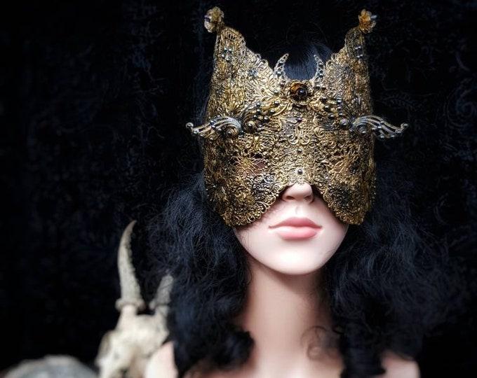 "Blind mask""Cat Mask Moon flower"", gothic headpiece, metal mask, cat mask, medusa, fantasy mask, goth crown / Made to order"