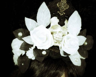 Black gold white glittery skull and roses kokoshnik, black white gold resin skull headpiece/ Ready to ship