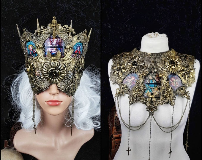Featured listing image: II.Set Stained glass Cathedral , Headpiece & collar, gothic headpiece, holy crown, goth crown, medusa costume, blind mask / Made to order