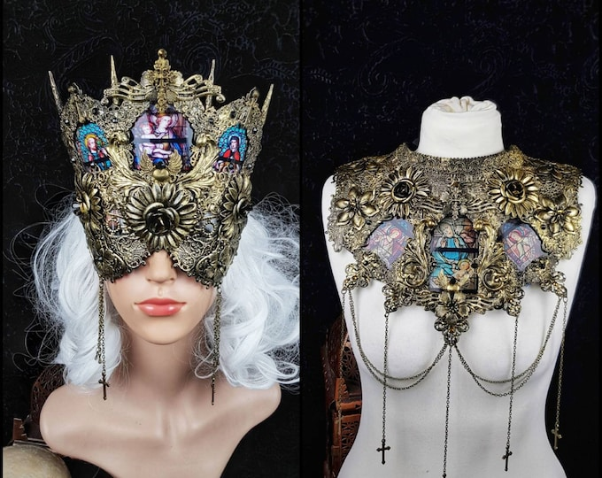 II.Set Stained glass Cathedral , Headpiece & collar, gothic headpiece, holy crown, goth crown, medusa costume, blind mask / Made to order