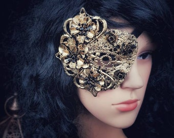 Flower eye patch, fantasy mask, blind mask, different colors available, so gold leaf finish, eye patch, gothic mask