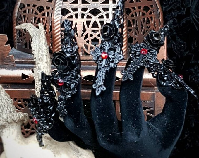 Gothic Finger claws cross roses, 10 pieces, metal claws, fingerclaws in different colours / Made to order