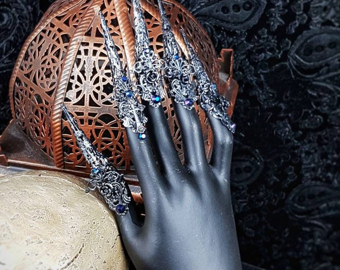 "10 pieces "" Art Nouveau "", Finger claws, metal claws, medusa costume, fantasy, gothic crown, goth headpiece, blind mask / Made to order"