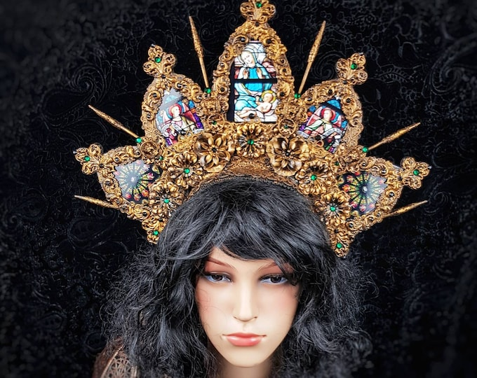 Stained glass King Lionheart headpiece, cathedral headpiece, blind mask, gothic crown, gothic headpiece, goth crown, halo / Made to order