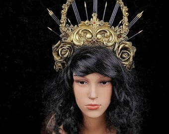 Baroque, gothic headpiece, gothic crown, religious headpiece, goth crown, halo headpiece, available in different colors/ Made to order