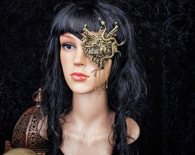 Scarab Eye Patch, totally blind, Augenklappe, Medusa costume, gothic headpiece, goth crown, blind  mask, cosplay, fantasy mask Made to Order