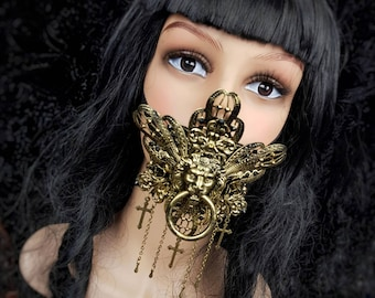 READY TO SHIP / King Lionheart Jaw mask, mouth mask, mouth patch, gothic mask, gothic headpiece, blind mask, goth crown, cosplay, medusa