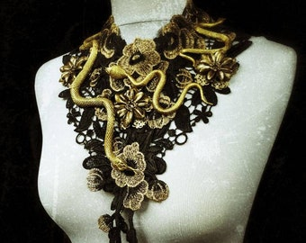 Snake flowers lace collar medusa in gold black, Lace Collar with Snakes and metal flower/limited quantity-Made to order