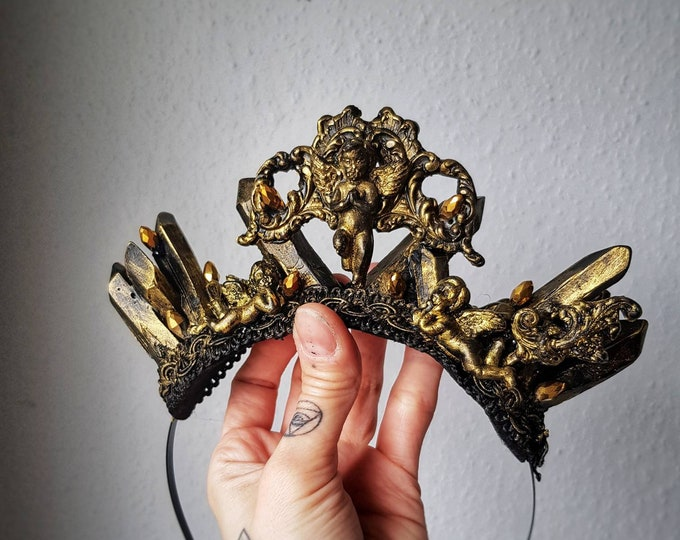 """READY TO SHIP / Crystal crown """" Holy Angel"""" Headpiece in antique look , goth crown, cosplay, gothic headpiece, blind mask, religious"""
