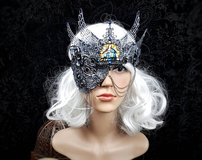 """Blind mask, stain glass """" Hermes """", half mask, gothic crown, religious, gothic headpiece, fantasy mask, goth crown, medusa,  / MADE TO ORDER"""