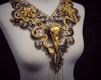 "Flowers lace collar "" Medusa Raven Snake"" in gold black, lace collar with raven skull and snakes/ limited quantity - Made to order"