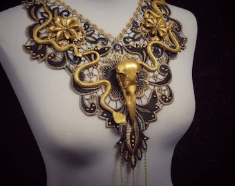 "Flowers lace collar "" Medusa Raven Snake"" in gold black, lace collar with raven skull and snakes/ Made to order"
