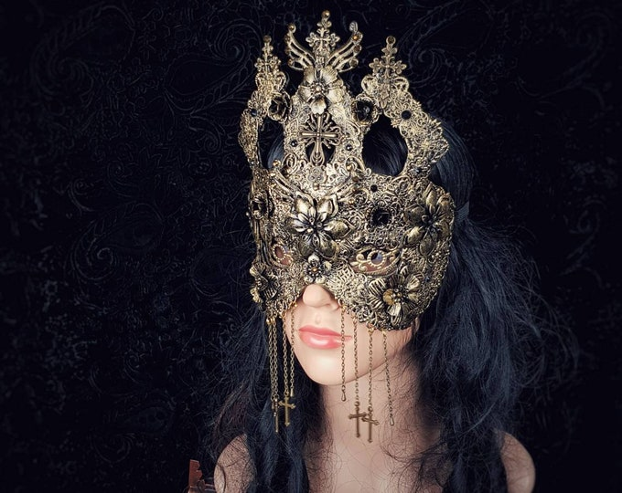 I. Cathedral blind mask , gothic headpiece, sacral mask, gothic crown, goth mask, kathedrale, fantasy mask, medusa costume / MADE TO ORDER