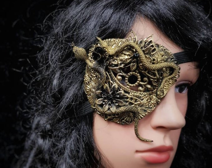 Medusa Eye patch, blind mask, fantasy mask, Snake Augenklappe, in different colors and style /Made to order