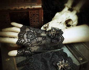 Bronze Cross Gothic Lace Cuffs, Black lace arm cuffs with a bronze cross and a satin rose/MADE TO ORDER