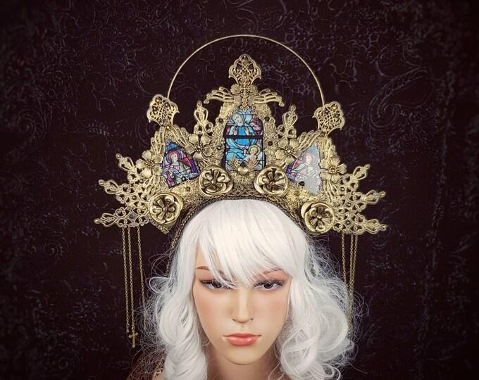 Stained glass, Halo Cathedral headpiece, blind mask, Heiligenschein, gothic crown, gothic headpiece, goth crown/ Made to order