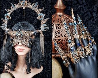 "II.Set ""Dragon shieldmaiden "" Halo, devil blind mask & claws, vikings, goth headpiece, pagan, goth crown, medusa, cosplay / Made to order"