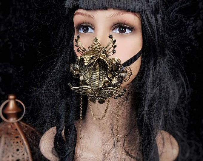 Cobra Jaw mask, mouth mask, mask, mouth patch, medusa costume, cleopatra, gothic headpiece, blind mask, goth crown / Made to order