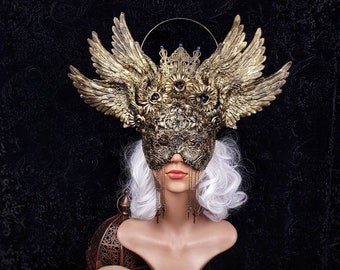 Wings Headpiece and blind mask, gothic crown, gothic headpiece, cathedral headpiece, goth crown, religious, medusa /MADE TO ORDER