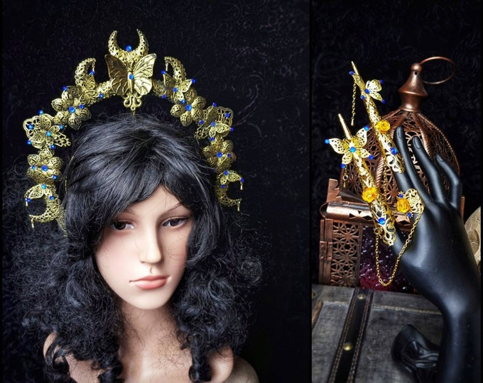 """READY TO SHIP / Set """" Butterfly moon """", Halo & 2 Hand Finger claws + rings, goth headpiece, fantasy costume, medusa, goth crown, cosplay"""