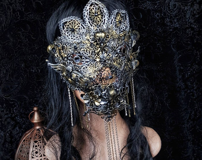 III.Set Raven blind mask & jaw mask, gothic headpiece, medusa costume, holy crown, goth crown, gothic crown,  goth / Made to order