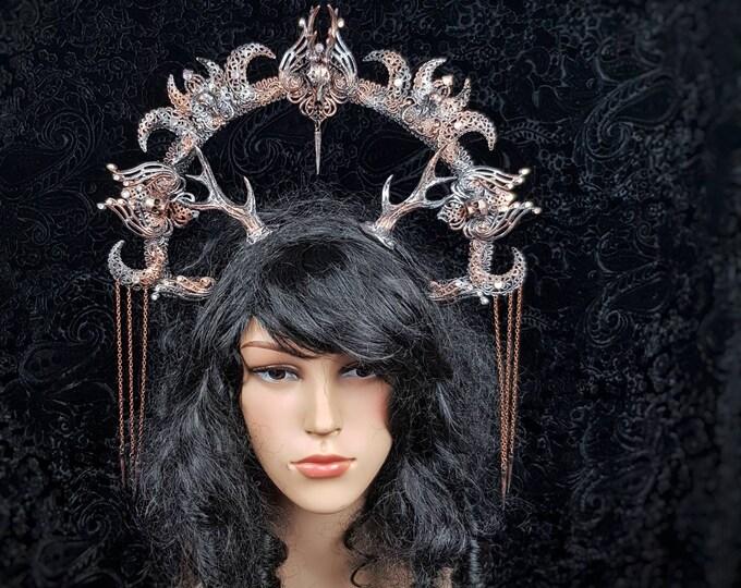 Tuahadedana halo with antlers, cernunnos, vikings, goth headpiece, blind mask, pagan crown, goth crown, medusa, fantasy /  MADE TO ORDER