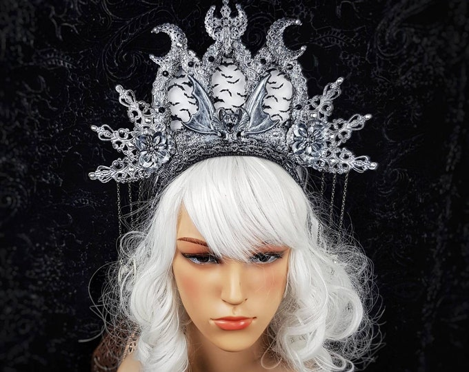 READY TO SHIP / Stained glass, Vampire Church, cathedral headpiece, blind mask, gothic crown, gothic headpiece, goth crown