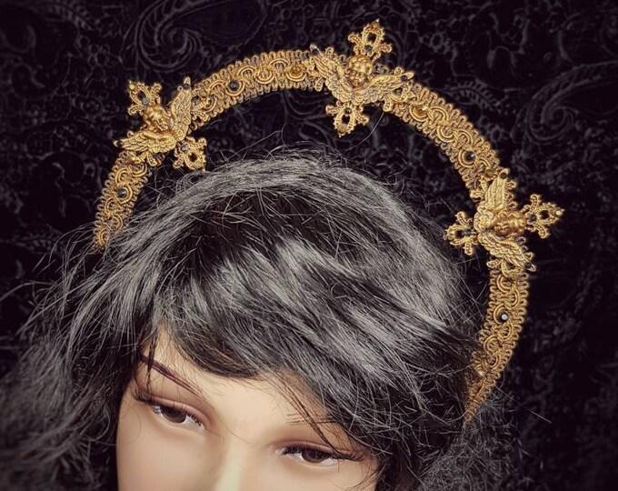 "Heiligenschein Haarreif "" Angel"",  Angel Crown, Gothic Headpiece, religious crown, holy crown, holy headband, goth crown / Made to Order"