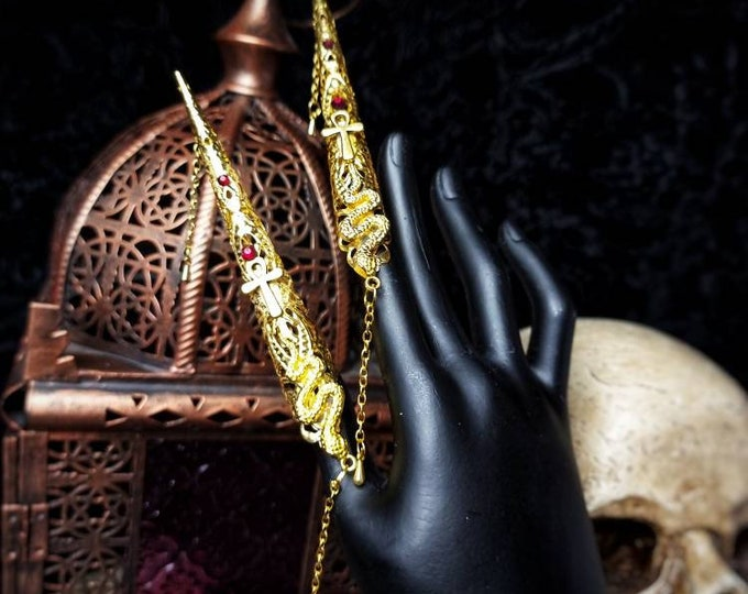 """READY TO SHIP / Extra long """" Medusa & Ankh """" finger claws,  gothic,goth crown, medusa costume, gothic headpiece, cosplay, blind mask"""