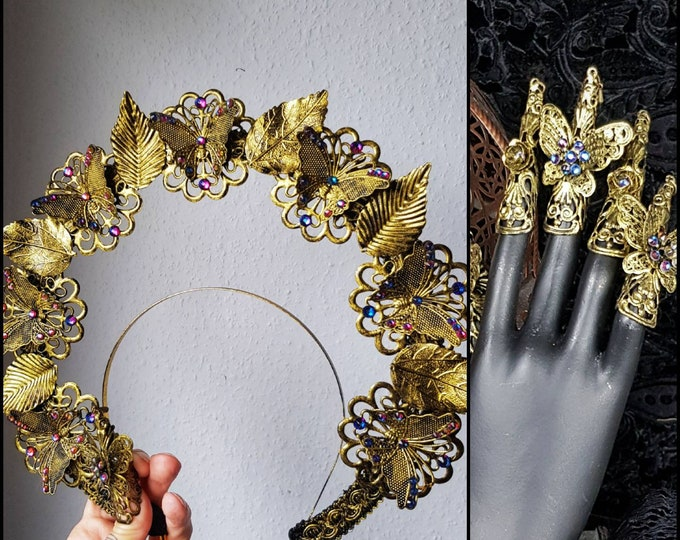 """II. Set """" Fairy Butterfly """" , Halo & 1 Hand Finger claws, goth headpiece, fantasy costume, medusa, goth crown, blind mask / Made to order"""