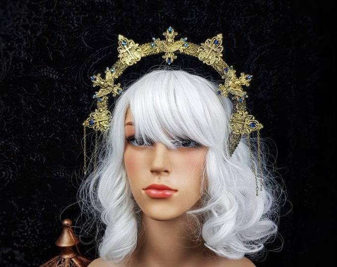 """Heiligenschein Haarreif """" II. Angel"""",  Angel Crown, Gothic Headpiece, gothic crown, holy crown, cathedral,  goth crown / Made to Order"""