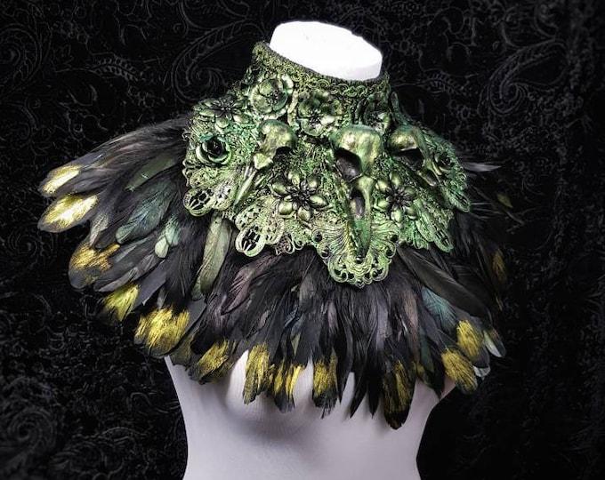 "Chest armor ""Black Swan"" Kragen, goth collar, gothic headpiece , medusa costume,  blind mask,  cosplay, Metal collar / Made to measure"