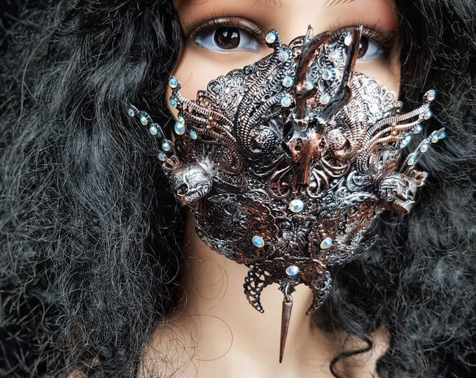 READY TO SHIP /Tuahadedana Jaw mask, mouth mask, mouth patch, gothic headpiece, blind mask,cosplay, goth crown, pagan mask, medusa, vikings