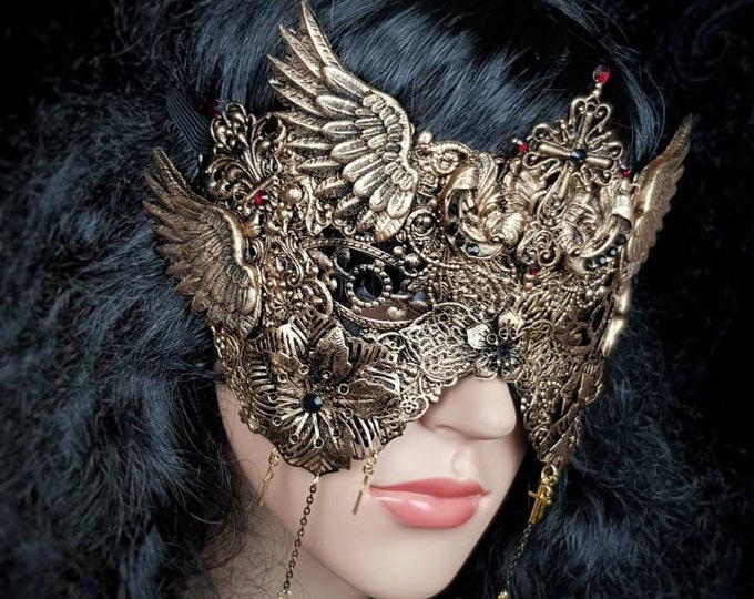 Angel, blind mask, goth crown, baroque mask, gothic Headpiece, gothic mask, fantasy mask, Made to order
