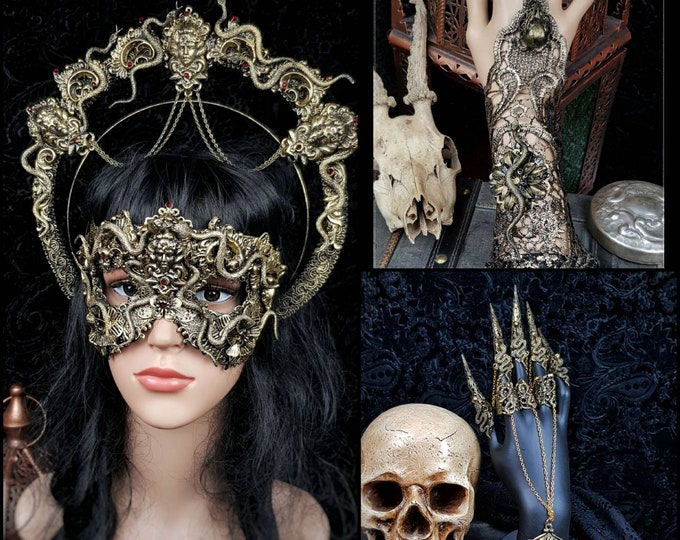 Big Set Medusa headpiece, blind mask, gloves & claws, medusa costume, gothic headpiece, goth crown, classic or blind mask/ Made to order