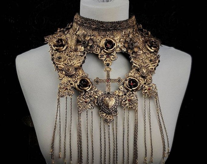 """Chest armor, fantasy collar """"Queen of hearts"""", goth collar, gothic headpiece, blind mask,  goth crown / MADE TO ORDER in your size"""