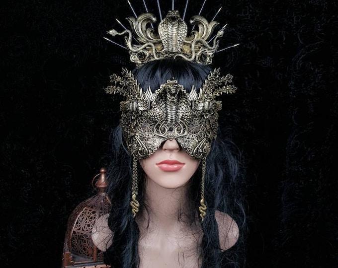 Set Cleopatra, Medusa crown & mask, medusa costume, gothic headpiece, cobra halo, goth crown, classic or blind mask/ Made to order