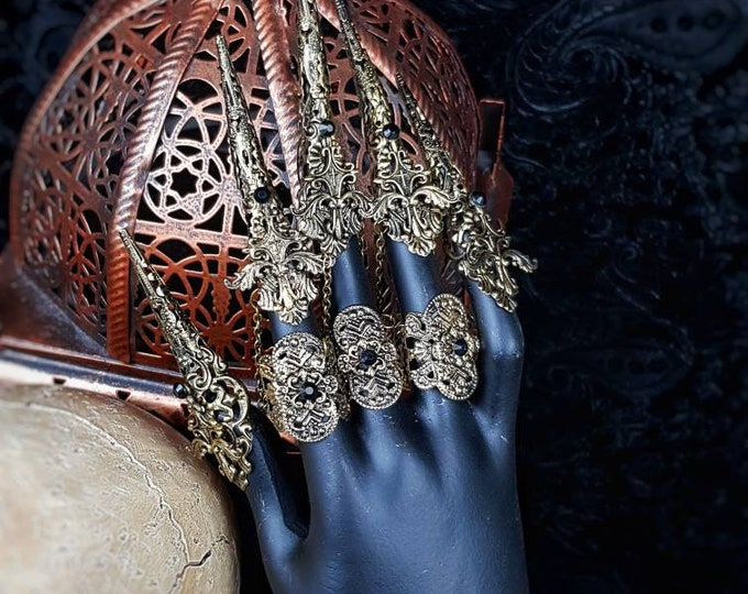 Angel wings finger claws, goth, gothic headpiece, gothic crown, medusa costume, goth crown, metal claws, blind  mask / Made to order