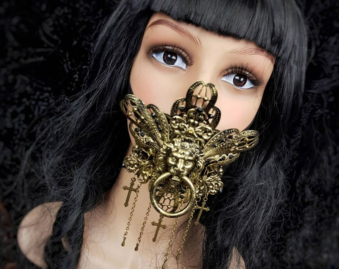 King Lionheart Jaw mask, mouth mask, mouth patch, gothic mask, gothic headpiece, blind mask, baroque mask, goth / Made to order