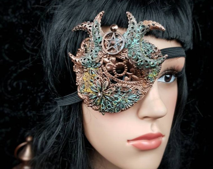 """Blind mask, Eye Patch """"Hexasylum"""", Pentagram, Gothic eyepatch, Augenklappe, fantasy mask , different colours available, Antique look"""