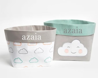 Happy Cloud (Pink)  Fabric Storage Baskets, Nursery Storage Baskets, Storage  Baskets, Canvas Storage Baskets, Baby Baskets, Nursery Baskets