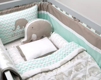 Elephant Parade Organic Cot Bedding Set Custom Nursery Crib Baby Blanket