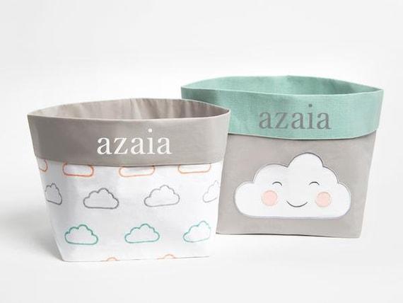 Happy Cloud Pink Fabric Storage Baskets Nursery Storage | Etsy