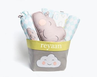 Happy Cloud-Baby Bedding Crib Gift Set, Baby Bedding, Baby Boy Bedding, Baby Gift, Baby Gift Ideas, Cloud Baby Bedding, Baby Boy Bedding Set